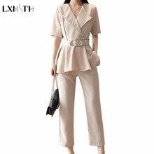 2 unidades pantalones conjuntos de mujeres 2018 Verano de moda de manga  corta elegante Oficina trajes fcb7b266058f
