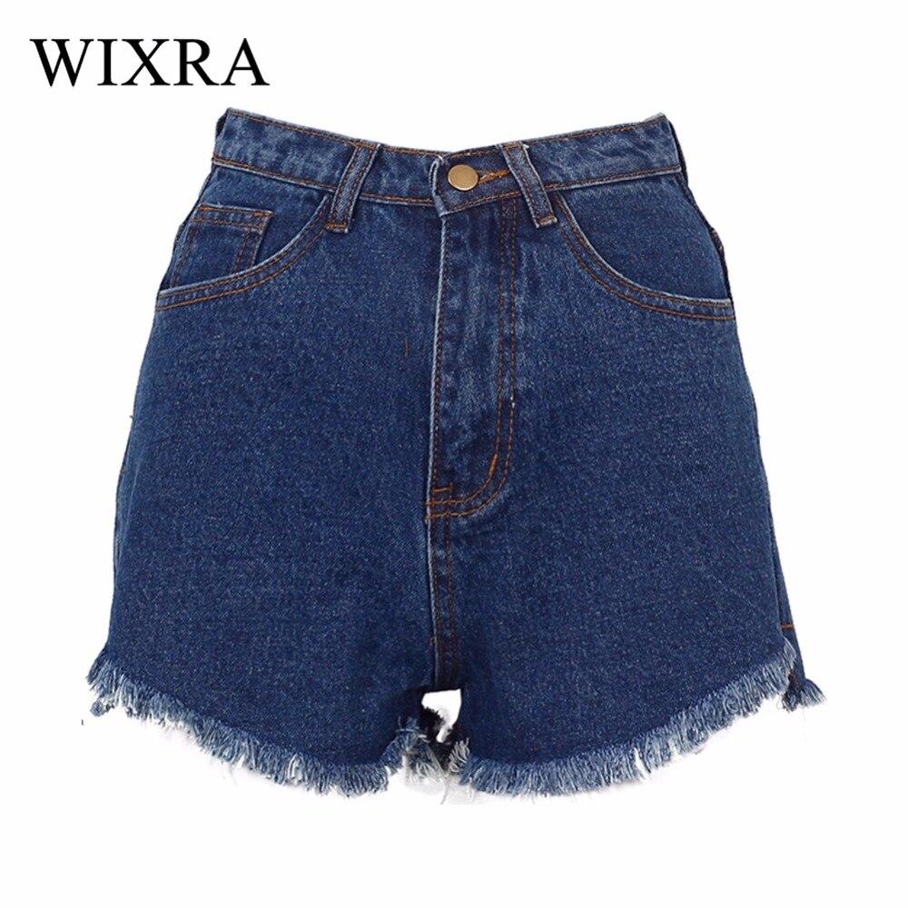 Wixra Basic Denim Shorts Summer BF Style Female Blue High Waist Jeans Shorts Women Worn Loose Short Front Long Behind Shorts
