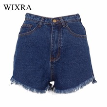 Wixra Basic Denim Shorts Summer BF Style Female Blue High Waist Jeans Shorts Women Worn Loose Short Front Long Behind Shorts