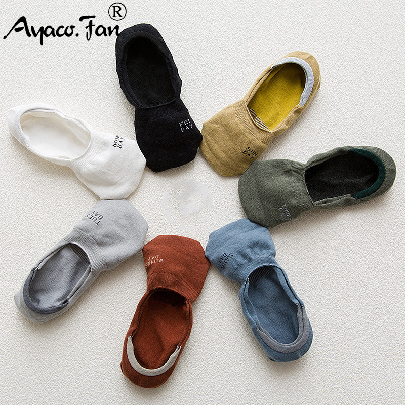 7 Pairs/Lot Men Invisible   Socks   New 7 Days Non-slip Silicone Boat Compression   Socks   Male Ankle   Sock   Men Meias Cotton   Socks
