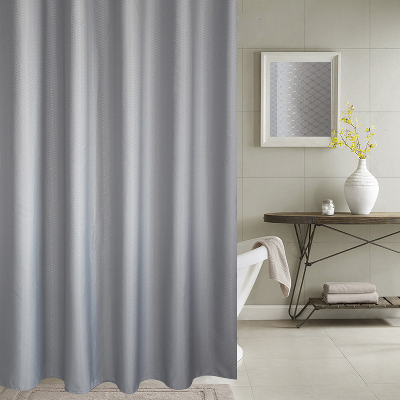 EHOMEBUY 2018 Shower Curtain Thick Jacquard Curtains High Grade Bathroom Silver Gray Honeycomb Textured Polyester Fabric