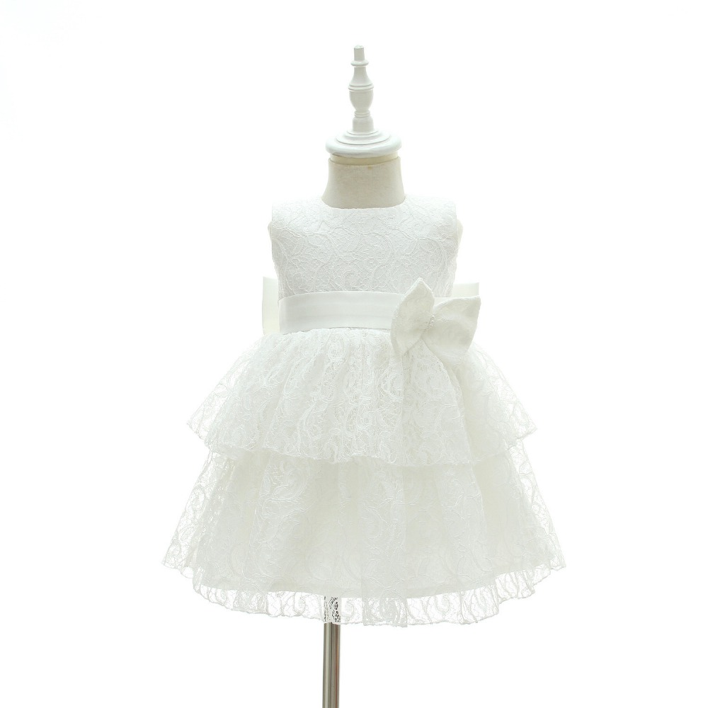 2018 new arrival Bridesmaid Baby Girl Dress Christening Baptism Baby Lace Princess Dress Bow Wedding Baby Dress Birthday B54