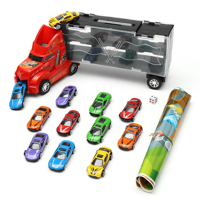 New Arrival DiBang Container Truck With 12 Alloy Car Puzzle Simulation Car Model Chess S ...