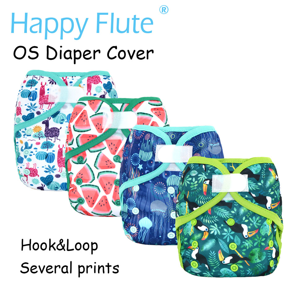 Happy Flute OS baby cloth diaper cover with or without bamboo insert,waterproof breathable S M& L adjustable,fit 5-15kg baby(China)