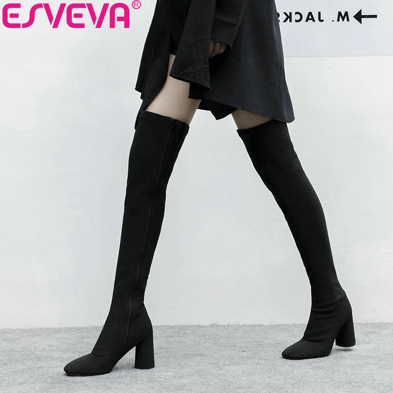 ESVEVA 2019 Shoes Women Square Toe Over The Knee Boots Stretch Fabric Square High Heels Zipper Autumn Boots Shoes Size 34-43 chuassure female boots peep toe high thick heels over the knee boots women autumn boots stretch fabric boots casual shoes black