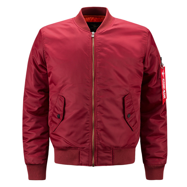 Genoeg 2018 Spring Autumn Mens Solid Flight Wine Red Bomber Jacket Men's @GZ98