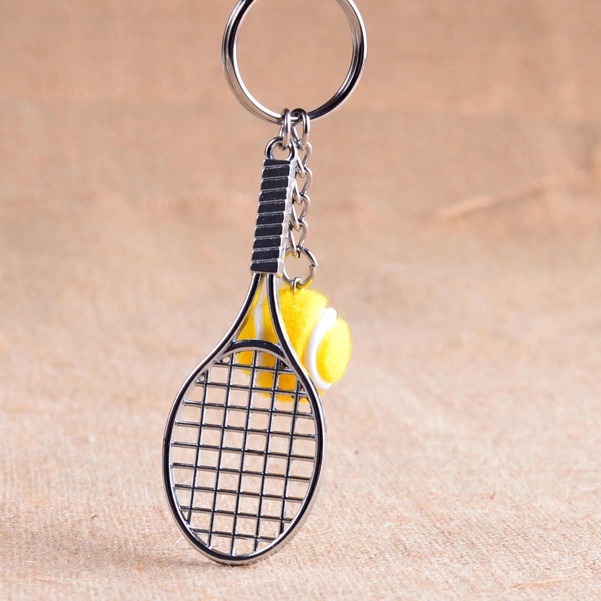 Mini de Metal Lembrança Bonito tenis Raquete De Tênis Raquete Bola Esportes Chian Bicicleta Carro Chaveiro Presente Simulação L770OLD
