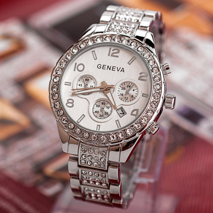 Excellent Quality New Brand Gold Crystal Casual Quartz Watch Women Stainless Steel Dress Watches Relogio Feminino Men Clock