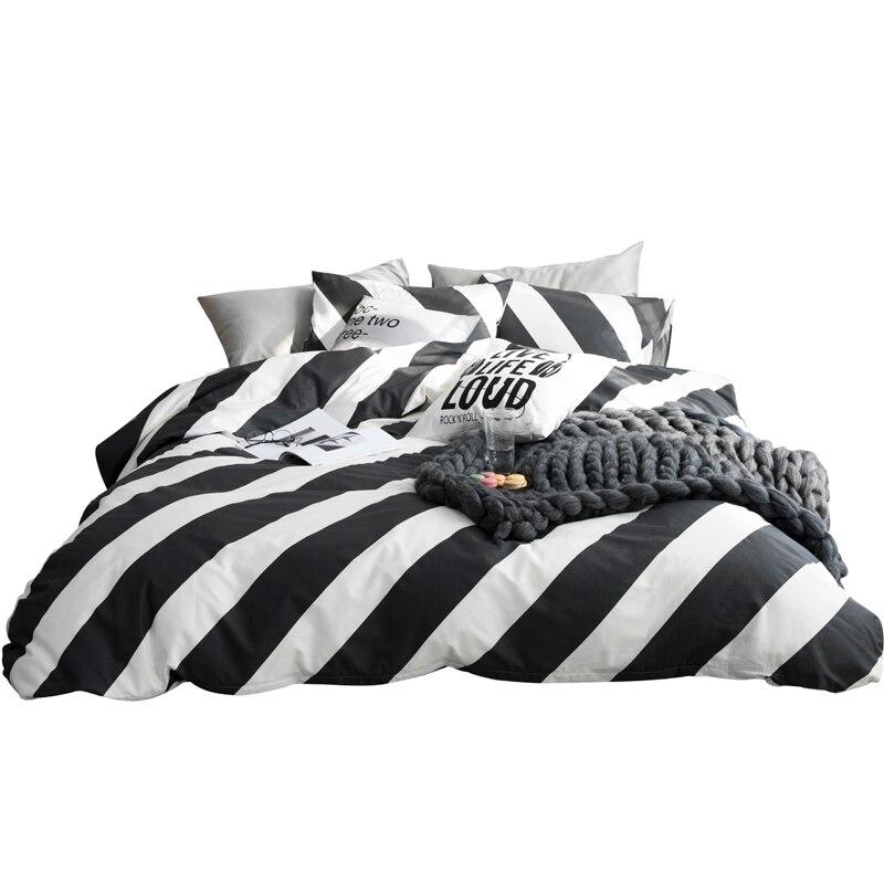 Schwarz und Weiß Blatt Diagonal Vertikale Streifen Plaid Bettwäsche Set Voll Königin Größe Baumwolle Bettbezug Flache Blätter oder Ausgestattet blätter