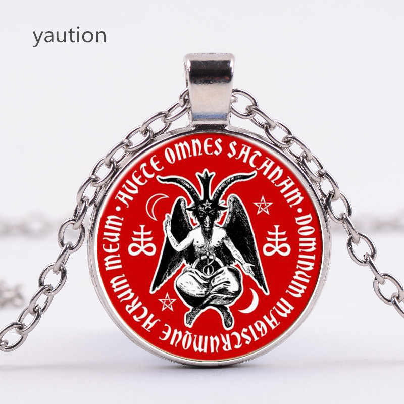 3/Color Baphomet Ma Quỷ Glass Pendant Necklace Trang Sức Vintage Đen Chuỗi Pagan Satan Vòng Cổ cho Phụ Nữ Men Gift collares
