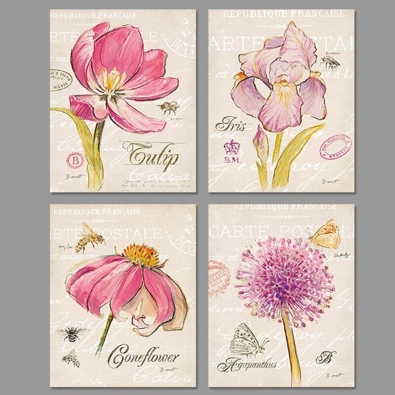 surat retro pink bunga lebah kupu kupu hewan dekorasi gambar seni