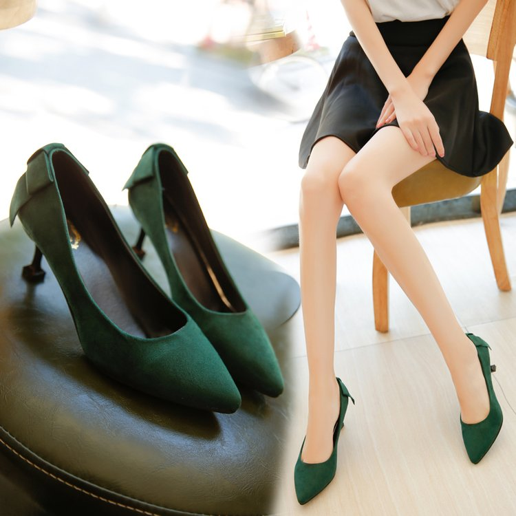 Fine Heel With Pointed High Heels Mature Summer 2019 New Suede Red Wedding Shoes Dark Green Low-heeled Work Shoes
