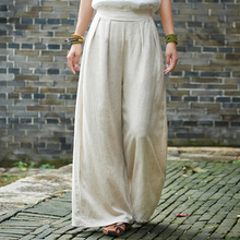 Johnature Women Wide Leg Pants Cotton Linen Trouser Japan Style Elastic Waist