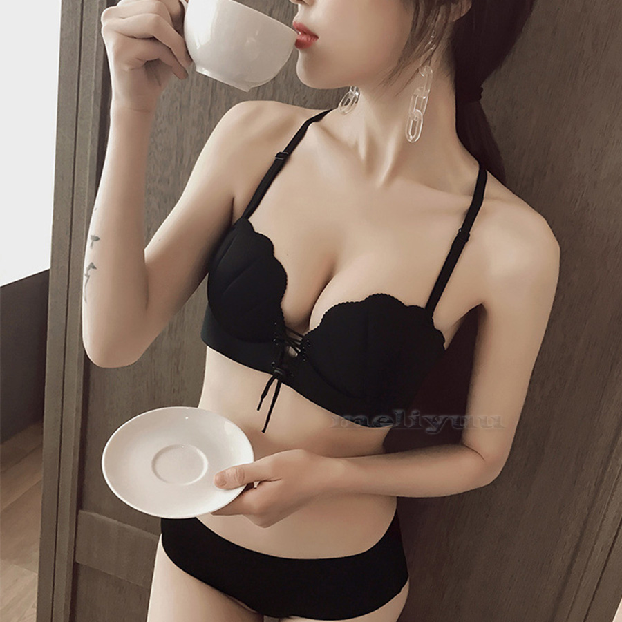Style Sexy Push Up   Bra   Invisible Strapless   Bras   Shell Gather Straps Underwear Women Padded Bralette Lingerie AA A B C D Cup