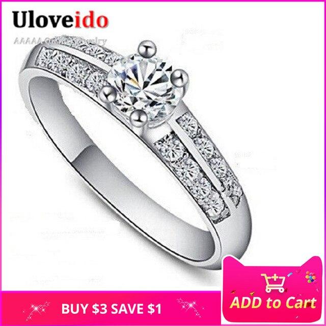 Uloveido Fashion Crystal Wedding Rings for Women Charms Jewelry Ring Female Cubic Zirconia Anel Feminino Bague Femme J511W