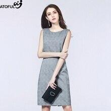 ФОТО atoful women's dresses 2018 summer fashion vintage plaid sleeveless a-line slim casual women dress plus size 3xl 4xl dresses