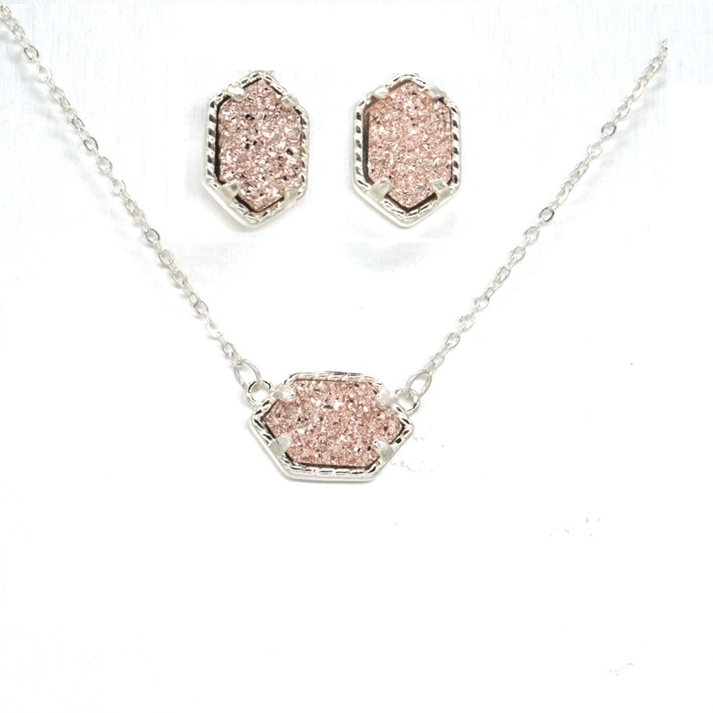15 Colors Druzy Drusy Necklace Stud Earrings Hexagon Silver Colour Chain Fashion Collar Brand for Women