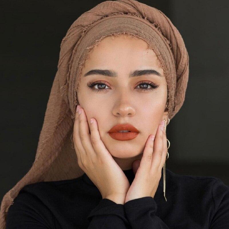 New Muslim   Scarf   Women Cotton Hijab Plain Soft Solid Shawls   Scarves   Head   Wrap   Muslim Head   Scarf   Hijab Muffler 180*65cm