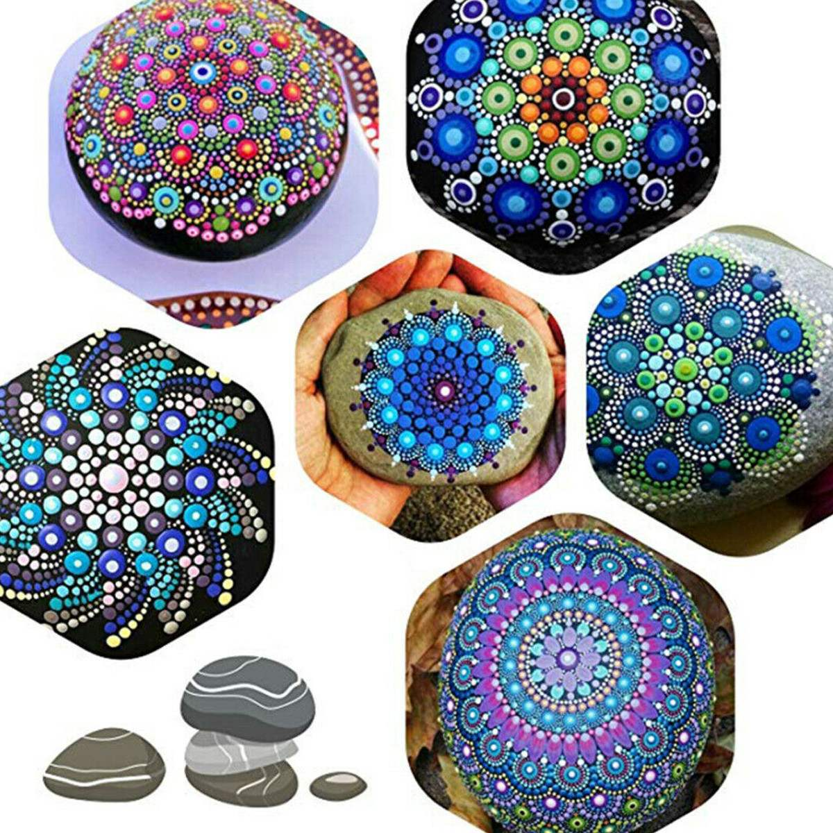 12Pcs/set Craft Mandala Auxiliary Template Stone Painting Stencils DIY Scrapbooking Album Paper Card Decorative Craft Embossing