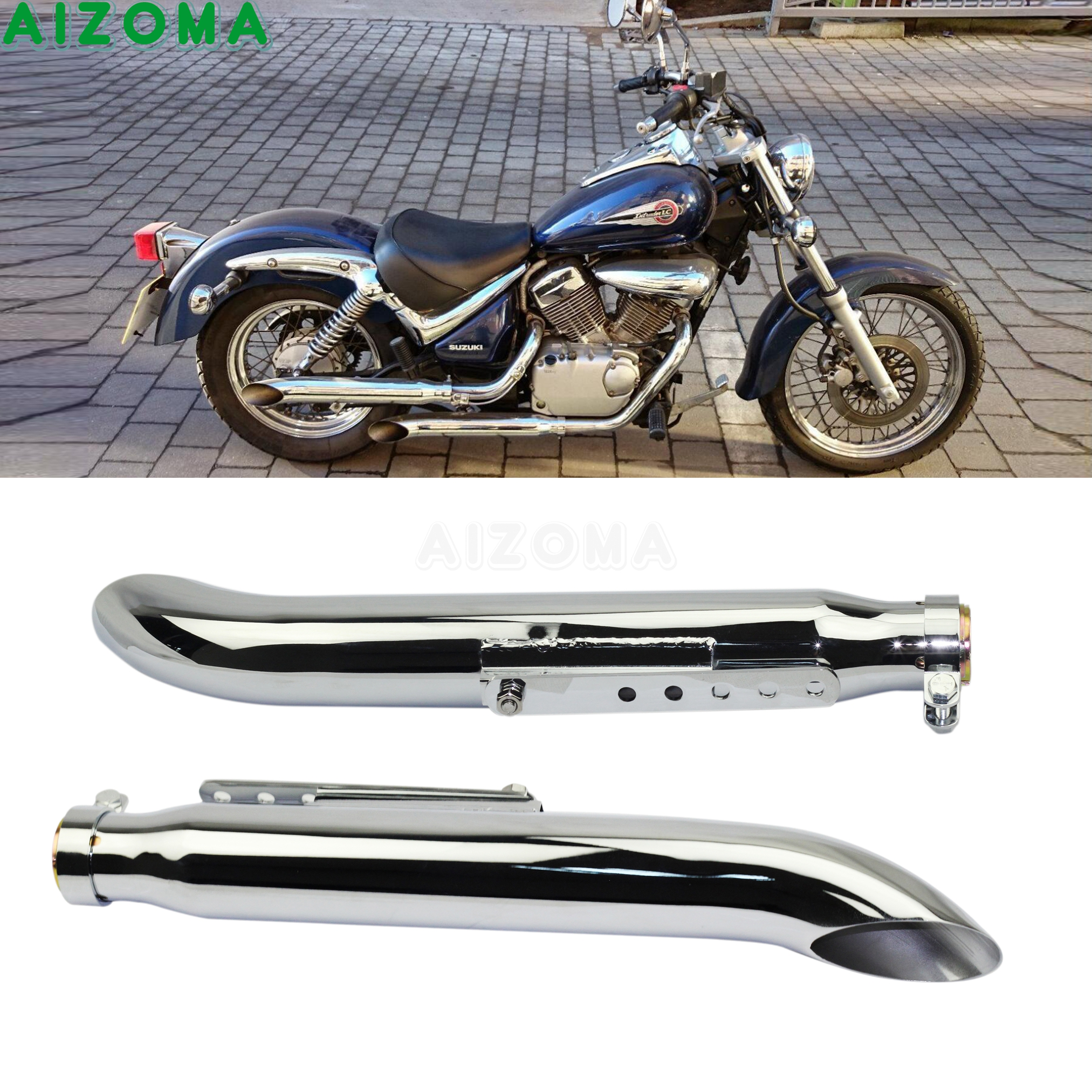 1 Pair Motorcycle Exhaust Muffller Pipe for Harley <font><b>Suzuki</b></font> <font><b>VL</b></font> 125 800 <font><b>1500</b></font> Intruder Bobber Chrome Tapered Turn Out Iron Silencer image