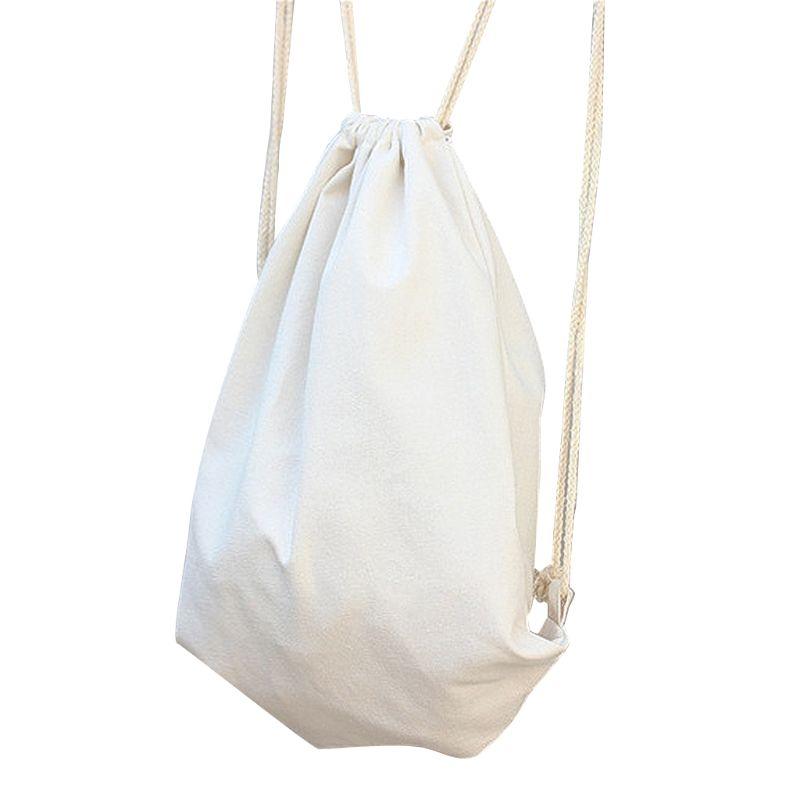 Drawstring Backpack Canvas Cinch Sack Sackpack Bag for Gym Sport Travel Storage