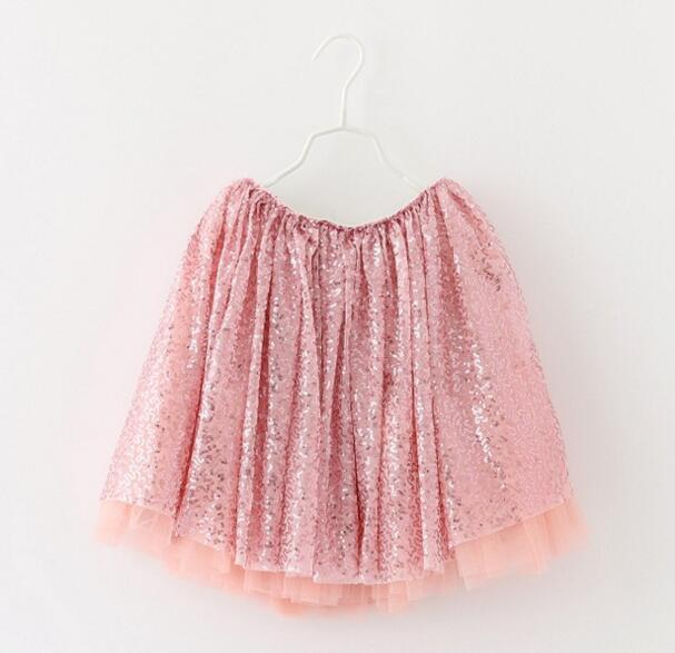 Wholesale Beautifull Little Girls Sequined Skirt Children Sparkles TUTU Skirt Kids Princess Skirt Party Costume Pink Silver