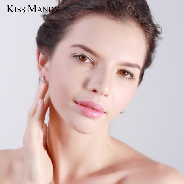 Kiss Mandy Hoop Earrings Trendy Women Jewelry 925 Sterling Silver Earring with 2 Row 90pcs Austrian Cubic Zirconia KSE19
