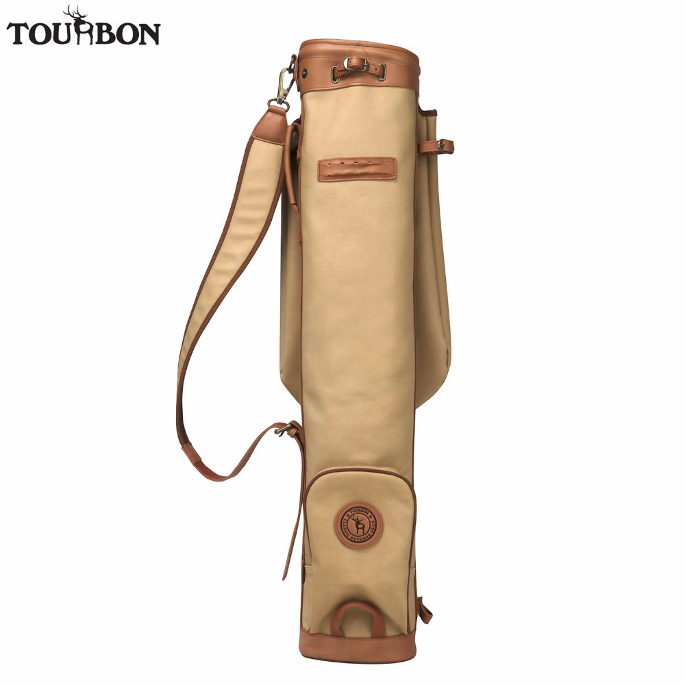 Tourbon Vintage Pencil Style Golf Club Carrier Canvas & Leather Golf Gun Bag w/ Pocket Fleece Padded Clubs Interlayer Cover 89CM polo authentic high quality golf gun bags pu waterproof laoke lun men travelling cover 8 9 clubs 123cm golf bolsa de sport bag