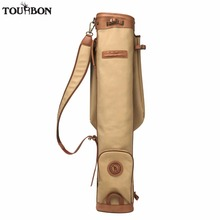 Tourbon Vintage Pencil Style Golf Club Carrier Canvas & Leather Golf Gun Bag w/ Pocket Fleece Padded Clubs Interlayer Cover 89CM