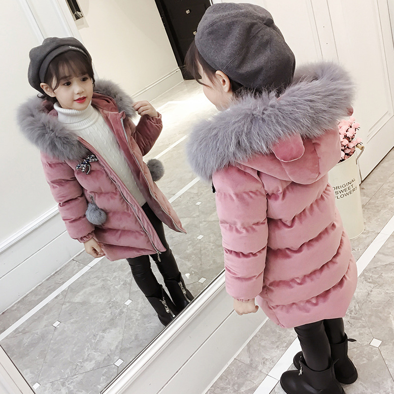 Big Sale!!! New Winter Children's Clothing Jacket For Girls Thicken Long Coat Bow Knot Hooded Velour Parkas Gold Velvet Outwear