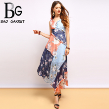 Baogarret  New Fashion Summer Dress Women's Sexy V-Neck Ruffles Bow Tie  Floral Printed  Elegant Vintage Party Long Dresses baogarret summer fashion dress women s sexy v neck backless bow tie ruffles floral printed elegant vintage vacation dress