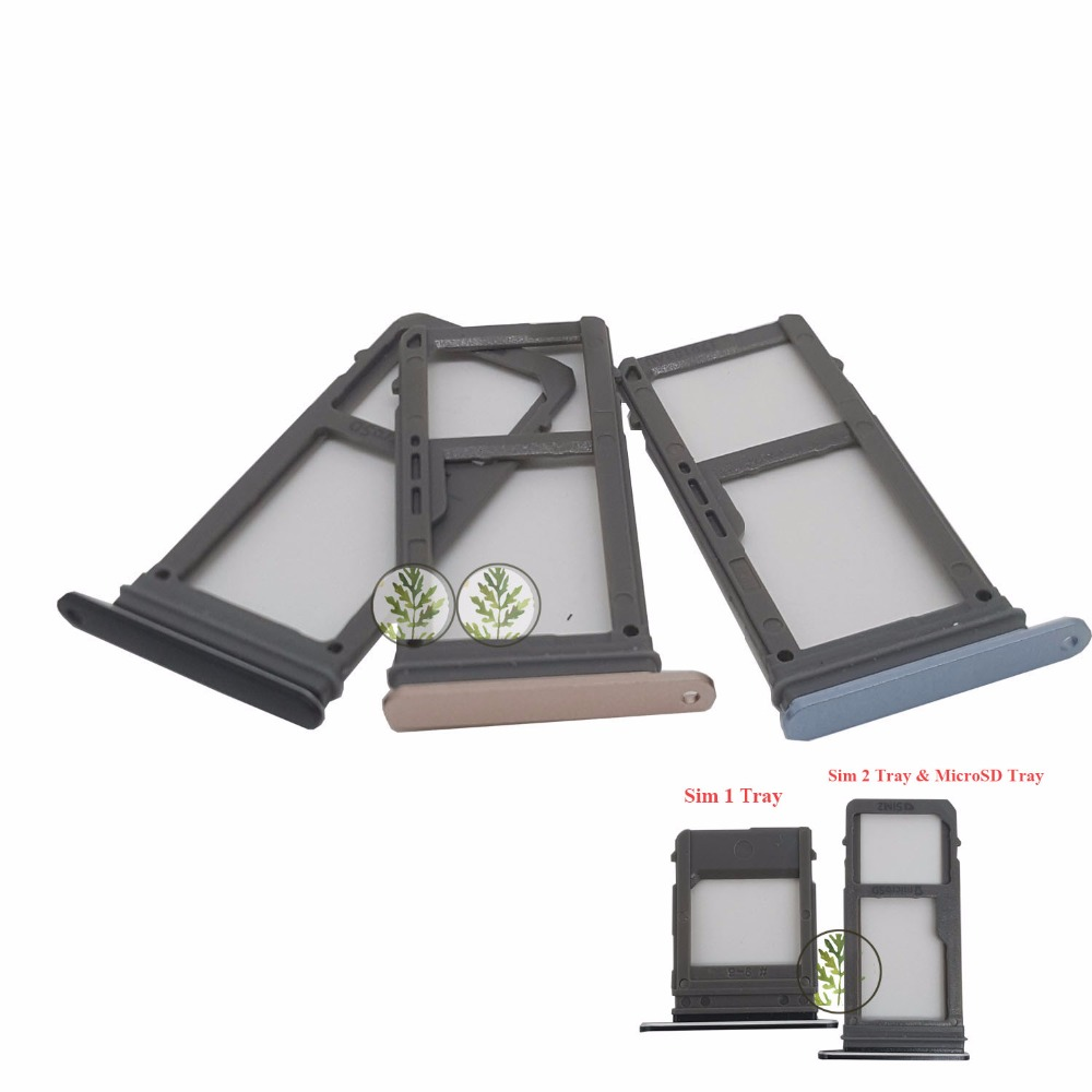 BINYEAE 1set Dual Sim 1 & Sim 2 Card Tray Slot+Micro SD Card Tray For Samsung Galaxy  A5 2017 A520 A520F / A7 2017 A720 A720F