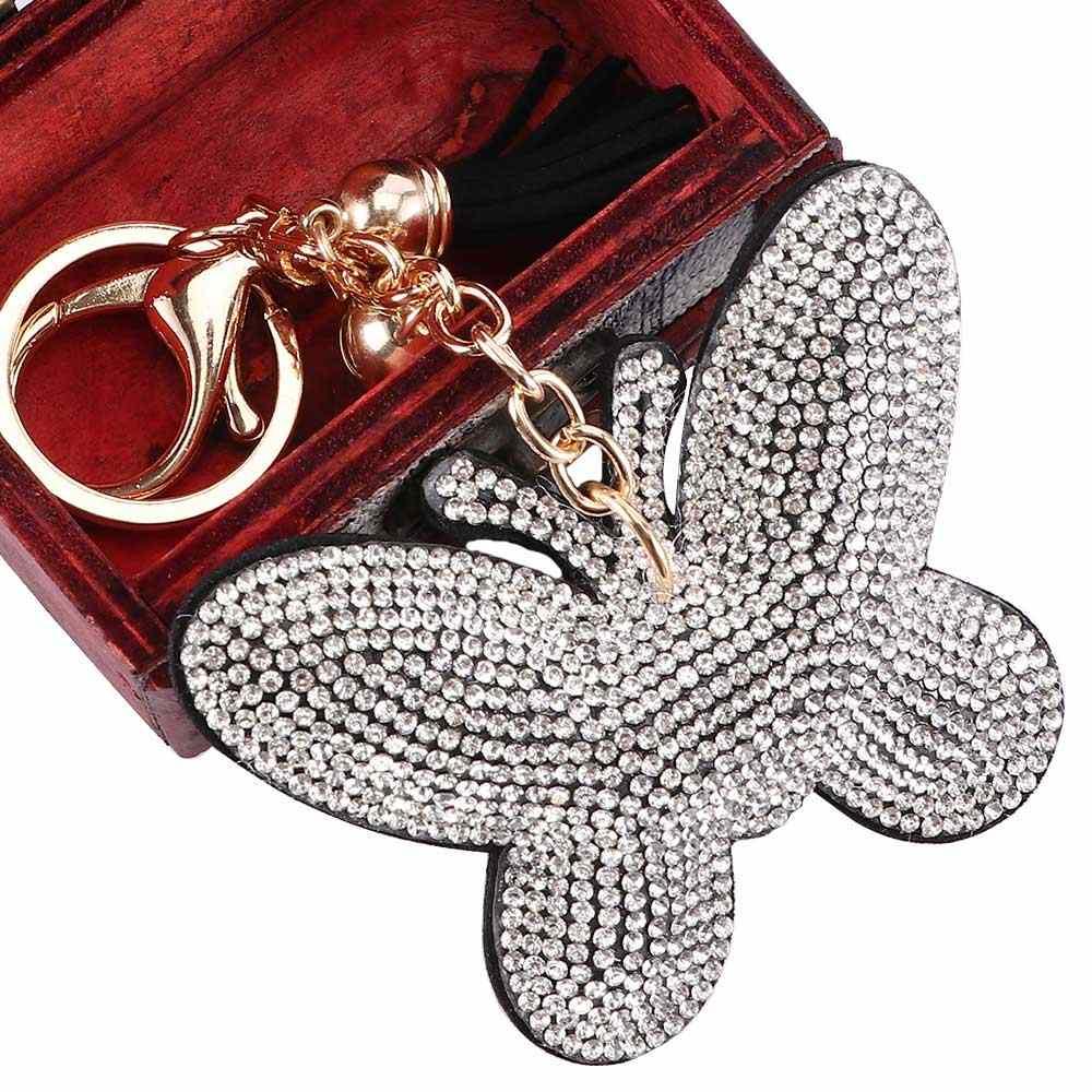 1 шт. Новый Модный женский изысканный брелок в форме бабочки брелок для сумки горный хрусталь кожаный кулон держатель для ключей кольцо подарки