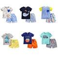 100% Algodão Nova 2017 Marca Bebê Meninos 2 pc Crianças Ternos Conjuntos de roupas Crianças Roupa Da Criança Do Bebê Meninos de Verão de Manga Curta Outwear