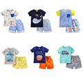 100% Algodón Nuevo 2017 de la Marca Baby Boys 2 unid Juegos de Los Niños ropa de Niño de Los Cabritos Arropan Juegos Del Bebé Niños Verano de Manga Corta Outwear