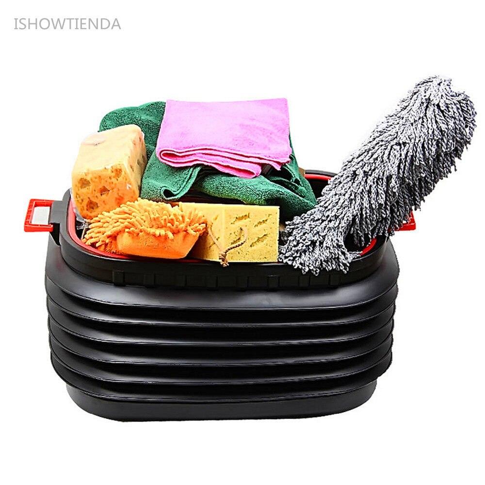 ISHOWTIENDA Foldable Rubbish Container Portable Plastic Water Barrel Organizer Box Glove compartment Household Car Trunk Use
