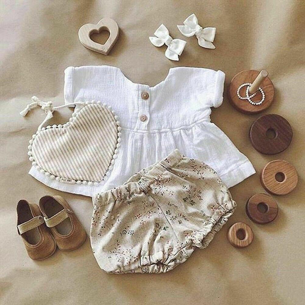 0-18M 2PCS Toddler Infant Baby Girls Cotton Linen Outfits Short Sleeve T-Shirt Casual Top+Floral Shorts Sunsuit Clothes Set