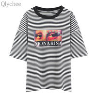 Qlychee Summer Women Harajuku Style Casual Tee Top MONARISA Eye Stripe T Shirt Short Sleeve Oversized