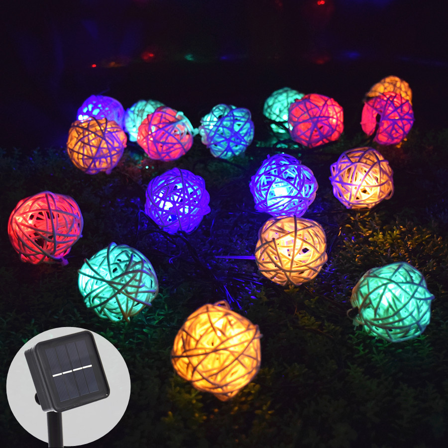 رشته های روشنایی در فضای باز با باتری Rattan 6 متری 30 چراغ خورشیدی چراغ شمسی توپ های رنگی پری چشمک زن
