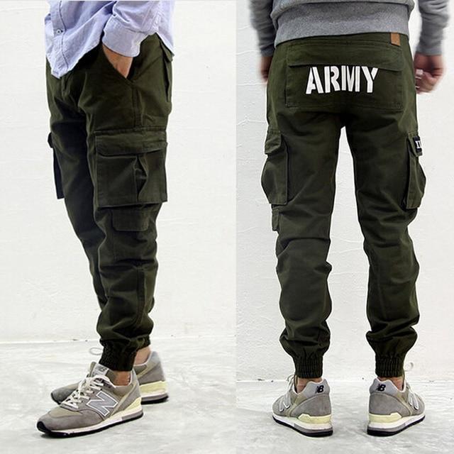89e92aa85b Para hombre de la moda estadounidense estilos militares joggers flaco verde  del ejército pantalones cargo con
