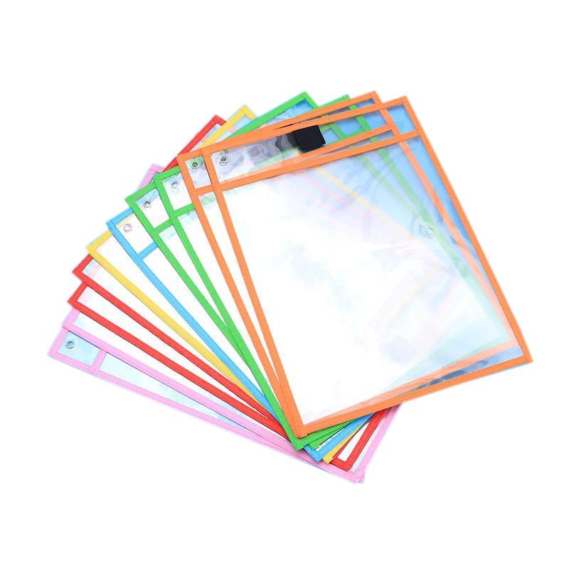 10Pcs Stationery Storage Bags School Office Supplies Transparent Pvc Sewing Bag Reusable Dry Erase Pockets Random Colors