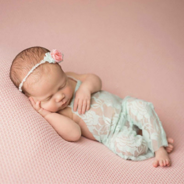 Newborn lace romper baby lace bowknot baby jumper baby girl romper 2017 new newborn photography props