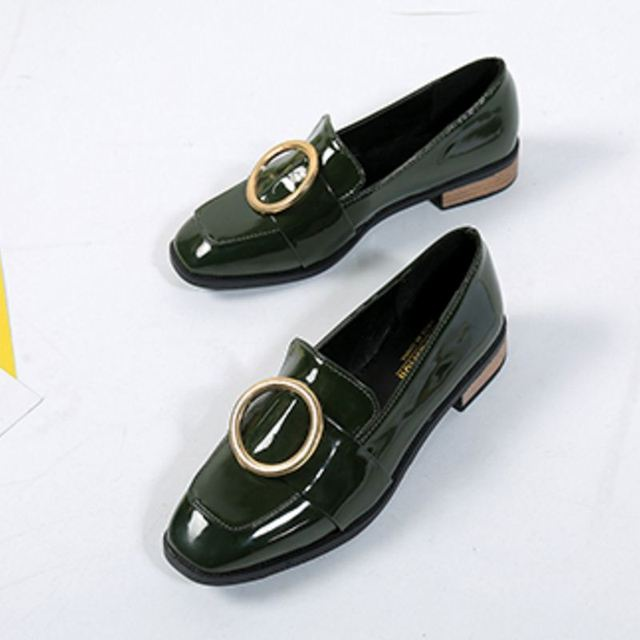 Female Flats Shoes Women Square Toe Patent Leather Flat Shoe Office Ladies Slip on Students Leisure soft Footwears Size 36-40