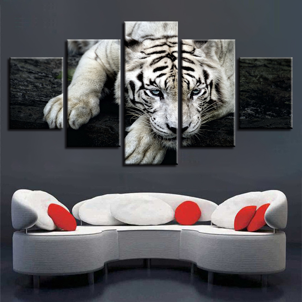 Details About Home Decor Picture White Tiger Animals Canvas Prints Painting Wall Art 5pcs