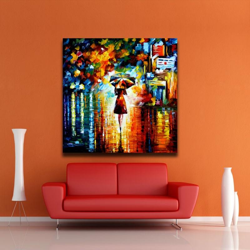 Yağışdakı çətirli qız Müasir Abstrakt Rəsm Palitrası - Ev dekoru - Fotoqrafiya 1