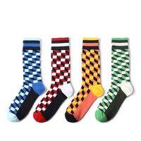 VVQI 2017 Men's long tube socks wholesale British style grid men's pure cotton socks 4 pack Leisure crew socks