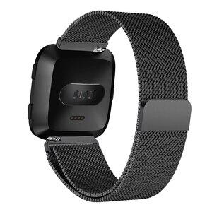 Миланская Магнитная Петля из нержавеющей стали ремешок для Fitbit Versa золотые часы 5,5-6,7 дюймов Прямая поставка Наручные часы стальной металл