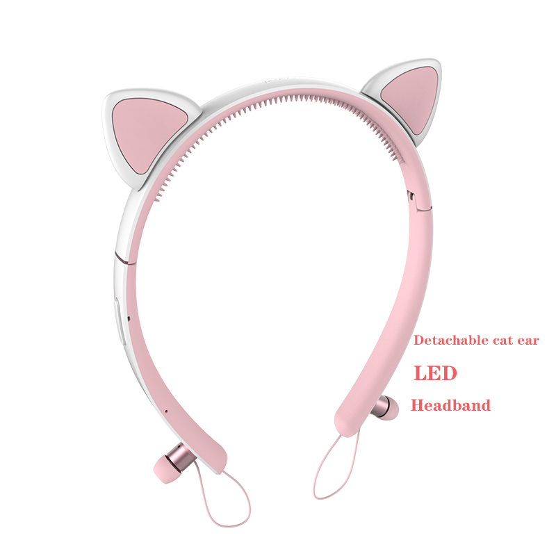 Bluetooth Wireless Cat Ear Headphones Gaming Headset Earphone with LED light For PC Laptop Computer Mobile