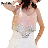 2RealShe 2019 Women Tank Tops Ladies V Neck Sleeveless Sequins Tops Woman Summer Sexy Casual Tops Camisole Seksi Tanks Top
