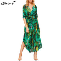 IShine Autumn Palm Leaf Printed Long Sleeve V Neck Beach Maxi Chiffon Long Dress Casual Split